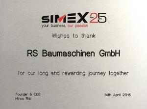 25 Jahre Handelspartner der Fa Simex
