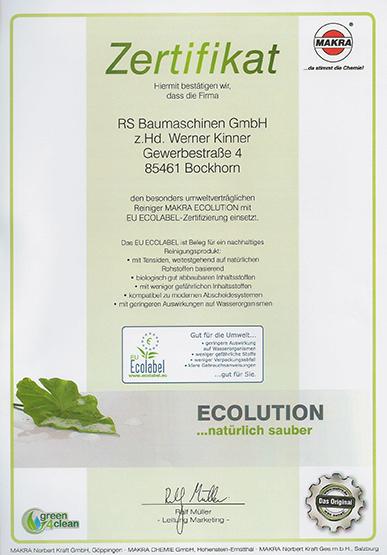 Auszeichnung mit dem Umweltzertifikat ECOLABEL