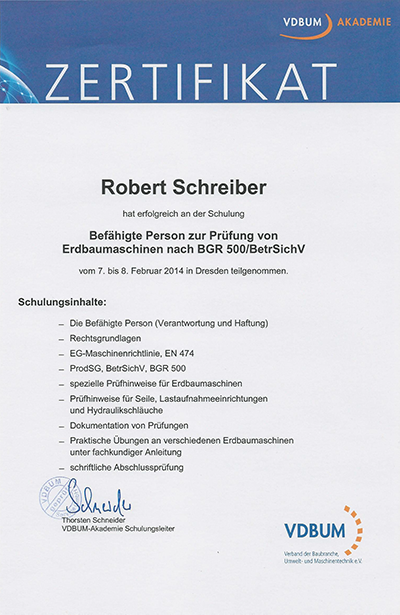 Zertifikat BGR500 Schreiber Robert