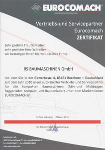 Zertifikat Eurocomach Vertriebs- und Servicepartner