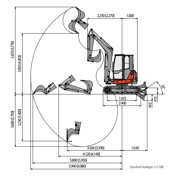 Eurcomach Excavator ES 6T TR Data & Specs